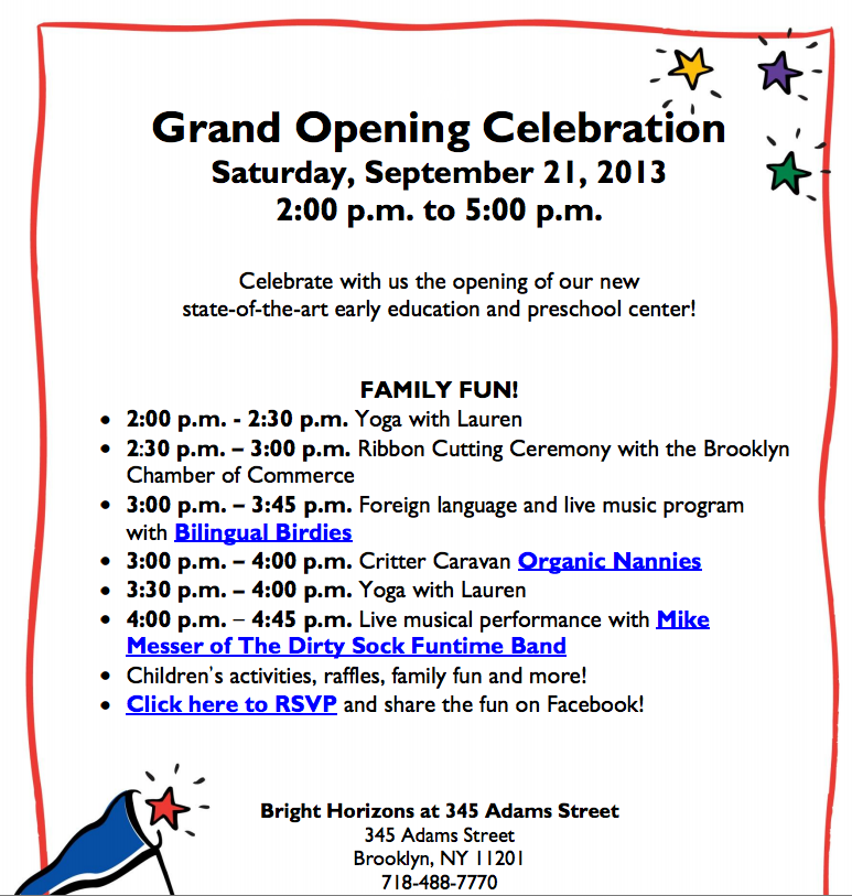 Grand opening celebration of bright horizons daycare 9 21 brooklyn