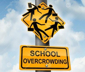 school-overcrowding-classroom-concept-as-crossing-traffic-sign-overcrowded-students-bursting-out-43398367