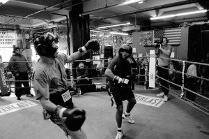 Robert Stolarik for The New York Times Brooklyn, NY January 4, 2008  Adam Friedman celebrates his 40th birthday by going in the ring with his colleague Alvin Valentine a former Golden Gloves boxer  at Gleason's Gym in Dumbo Brooklyn.  Adam Friedman and Alvin Valentine come from two entirely different worlds yet they have found a common ground working for  Exodus Transitional Community. The non-profit organization help ex-convicts get their life on track.