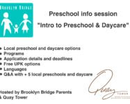 "Preschool info session ""Intro to Preschool & Daycare"" hosted by Brooklyn Bridge Parents & Quay Tower 9/25"
