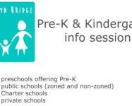 "School info session ""Intro to Pre-K & Kindergarten"" on 11/13"