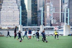 Spring soccer in Brooklyn Bridge Park