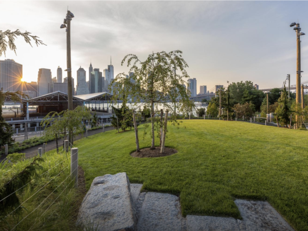 Pier 2 uplands with water play now open in Brooklyn Bridge Park